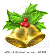 Vector Illustration of a 3d Gold Christmas Bells Holly and Berries by AtStockIllustration