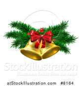 Vector Illustration of a 3d Gold Christmas Bells with Branches and Bow by AtStockIllustration