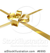 Vector Illustration of a 3d Gold Christmas, Birthday or Other Holiday Bow and Ribbon on a Gift, over Shaded White by AtStockIllustration