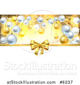 Vector Illustration of a 3d Gold Christmas, Birthday or Other Holiday Gift Bow and Ribbon over Baubles with Gold and White by AtStockIllustration