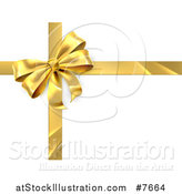 Vector Illustration of a 3d Gold Christmas, Birthday or Other Holiday Gift Bow and Ribbon over Shaded White by AtStockIllustration