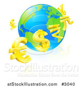 Vector Illustration of a 3d Gold Currency Signs Floating Around a Globe by AtStockIllustration