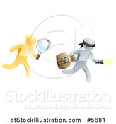 Vector Illustration of a 3d Gold Detective Chasing a Silver Robber with a Magnifying Glass by AtStockIllustration