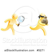 Vector Illustration of a 3d Gold Detective Chasing a Thief with a Magnifying Glass by AtStockIllustration