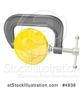 Vector Illustration of a 3d Gold Dollar Coin in a Clamp by AtStockIllustration