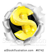 Vector Illustration of a 3d Gold Dollar Currency Symbol Breaking Through a Hole by AtStockIllustration