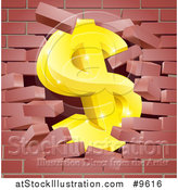 Vector Illustration of a 3d Gold Dollar Currency Symbol Breaking Through a Red Brick Wall by AtStockIllustration