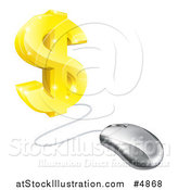 Vector Illustration of a 3d Gold Dollar Symbol Connected to a Computer Mouse by AtStockIllustration