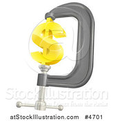 Vector Illustration of a 3d Gold Dollar Symbol in a Clamp by AtStockIllustration