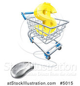Vector Illustration of a 3d Gold Dollar Symbol in a Shopping Cart with a Computer Mouse by AtStockIllustration
