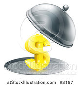 Vector Illustration of a 3d Gold Dollar Symbol on a Silver Platter Under a Cloche by AtStockIllustration