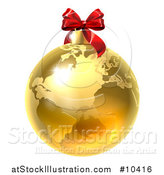 Vector Illustration of a 3d Gold Earth Globe Christmas Bauble with a Red Bow by AtStockIllustration
