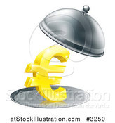 Vector Illustration of a 3d Gold Euro Symbol on a Silver Platter Under a Cloche by AtStockIllustration