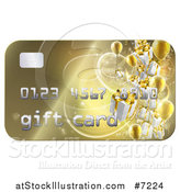 Vector Illustration of a 3d Gold Gift Card with Presents and Balloons by AtStockIllustration