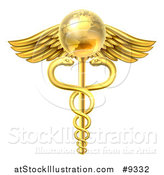 Vector Illustration of a 3d Gold Globe and Medical Caduceus with Snakes on a Winged Rod by AtStockIllustration