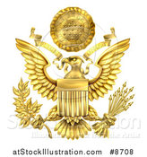 Vector Illustration of a 3d Gold Great Seal of the United States with a Bald Eagle Holding an Olive Branch and Arrows, an American Flag Body and E Pluribus Unum Scroll and Stars over His Head by AtStockIllustration