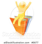 Vector Illustration of a 3d Gold Guy Cheering on Books by AtStockIllustration