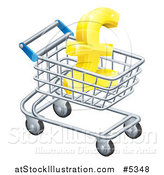 Vector Illustration of a 3d Gold Lira Pound Symbol in a Shopping Cart by AtStockIllustration