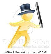 Vector Illustration of a 3d Gold Magic Man Holding up a Wand by AtStockIllustration