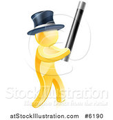 Vector Illustration of a 3d Gold Magician Man Holding up a Magic Wand by AtStockIllustration