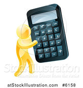 Vector Illustration of a 3d Gold Man Carrying a Giant Calculator by AtStockIllustration