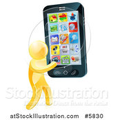 Vector Illustration of a 3d Gold Man Carrying a Giant Cell Phone with Apps by AtStockIllustration
