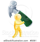 Vector Illustration of a 3d Gold Man Carrying a Giant Hammer by AtStockIllustration