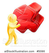 Vector Illustration of a 3d Gold Man Carrying a Giant Red Cross X by AtStockIllustration