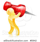 Vector Illustration of a 3d Gold Man Carrying a Giant Red Pin by AtStockIllustration