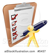 Vector Illustration of a 3d Gold Man Checking off a List with a Pen by AtStockIllustration
