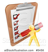Vector Illustration of a 3d Gold Man Checking off a List with a Pencil by AtStockIllustration