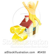 Vector Illustration of a 3d Gold Man Cheering on a House by a Percent Symbol by AtStockIllustration