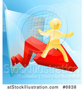 Vector Illustration of a 3d Gold Man Cheering on a Red Growth Arrow over Graphs on Blue by AtStockIllustration