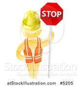 Vector Illustration of a 3d Gold Man Construction Worker Holding a Stop Sign by AtStockIllustration