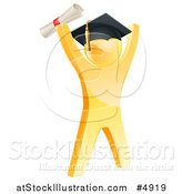 Vector Illustration of a 3d Gold Man Graduate Cheering with a Diploma by AtStockIllustration