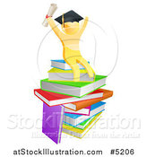 Vector Illustration of a 3d Gold Man Graduate Cheering with a Diploma on Books by AtStockIllustration