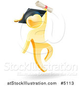 Vector Illustration of a 3d Gold Man Graduate Jumping with a Diploma by AtStockIllustration
