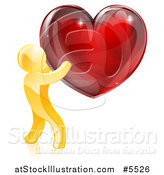 Vector Illustration of a 3d Gold Man Holding a Red Heart by AtStockIllustration