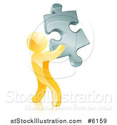 Vector Illustration of a 3d Gold Man Holding a Silver Puzzle Piece by AtStockIllustration