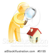 Vector Illustration of a 3d Gold Man House Hunting by AtStockIllustration