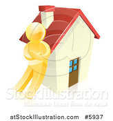 Vector Illustration of a 3d Gold Man Leaning Against a House by AtStockIllustration