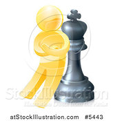 Vector Illustration of a 3d Gold Man Leaning Against a King Chess Piece by AtStockIllustration