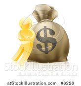 Vector Illustration of a 3d Gold Man Leaning Against a Large Dollar Money Bag by AtStockIllustration