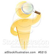 Vector Illustration of a 3d Gold Man Looking up Through a Magnifying Glass by AtStockIllustration