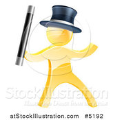 Vector Illustration of a 3d Gold Man Magician by AtStockIllustration