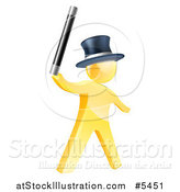 Vector Illustration of a 3d Gold Man Magician Holding up a Wand by AtStockIllustration