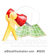 Vector Illustration of a 3d Gold Man Pinning a Location on a Map by AtStockIllustration