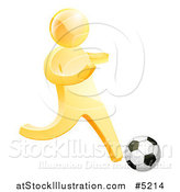 Vector Illustration of a 3d Gold Man Playing Soccer by AtStockIllustration