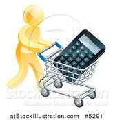 Vector Illustration of a 3d Gold Man Pushing a Calculator in a Shopping Cart by AtStockIllustration