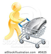 Vector Illustration of a 3d Gold Man Pushing a Giant Computer Mouse in a Shopping Cart by AtStockIllustration